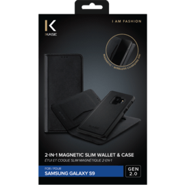 2-in-1 GEN 2.0 Magnetic Slim Wallet & Case for Samsung Galaxy S9, Black