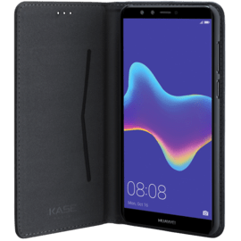 Folio flip case with card slot & stand for Huawei Y9 (2018) , Black