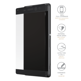 Full Coverage Tempered Glass Screen Protector for Sony Xperia XA Ultra, Black