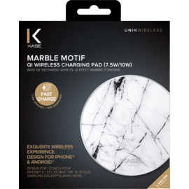 Marble Motif Qi Fast Charge Wireless Charging Pad 7.5W/ 10W, Bianco White