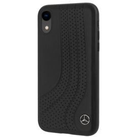 Mercedes-Benz New Bow II Perforated Genuine leather case for Apple iPhone XR, Black