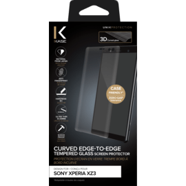 Curved Edge-to-Edge Tempered Glass Screen Protector for Sony Xperia XZ3, Black