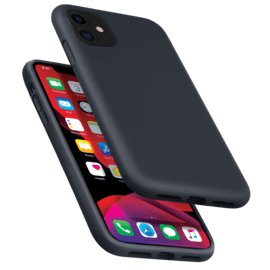 (D) Anti-Shock Soft Gel Silicone Case for Apple iPhone 11, Satin Black