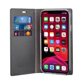 Diarycase 2.0 Genuine Leather flip case with magnetic stand for Apple iPhone 11, Midnight Black