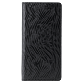 Case Diarycase Genuine Leather flip case with magnetic stand for Apple iPhone X, Lizard Black