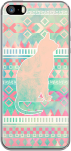 Case Whimsical Cat, Pink Turquoise Girly Aztec Pattern by Girly Trend