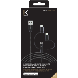 3-in-1 Metallic Braided USB to Micro-USB, Apple MFi certified Lightning® & Type C Charge/Sync Cable (1M)