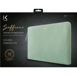 Saffiano Genuine Leather Sleeve for 13-inch MacBook Pro, MacBook Air and MacBook Pro Retina , Pastel Green