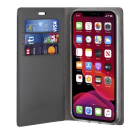 Diarycase 2.0 Genuine Leather flip case with magnetic stand for Apple iPhone 11 Pro, Midnight Black