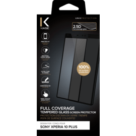 Full Coverage Tempered Glass Screen Protector for Sony Xperia 10 Plus, Black