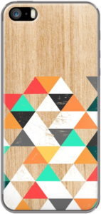 Case Colorful Geometric Triangles on Wood Grain Texture by Madotta