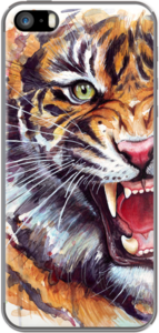 Case Angry Tiger Watercolor by Olechka