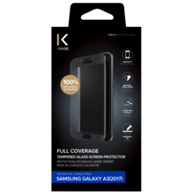 Full Coverage Tempered Glass Screen Protector for Samsung Galaxy A3 (2017), Black