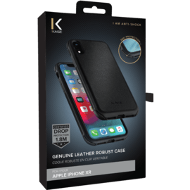 Genuine Leather Robust Case for iPhone XR, Jet Black