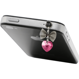 Case Jewel Jack Plug with Swarovski Crystals, Love heart with Ribbon, Rose pink