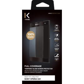 Full Coverage Tempered Glass Screen Protector for Sony Xperia XA1, Black