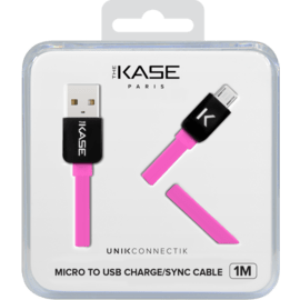Flat cable to Micro USB (1m) for Android, Hot Pink