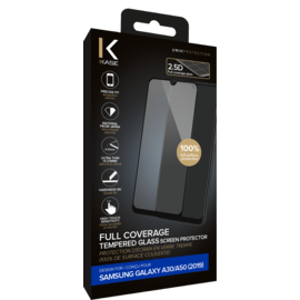 Full Coverage Tempered Glass Screen Protector for Samsung Galaxy A30/A50 2019, Black