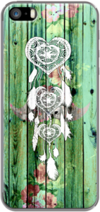 Case White Heart Dreamcatcher Floral Green Striped Wood by Girly Trend