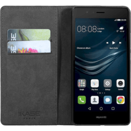 (P) Flip case with credit card slots & stand for Huawei P9 lite, Black
