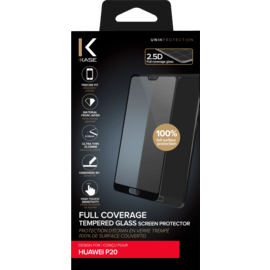 Full Coverage Tempered Glass Screen Protector for Huawei P20, Black