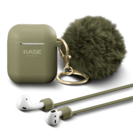 Fashionista Pom-Pom Charm & Case for Apple AirPods with Auto-Clip Strap, Olive Green