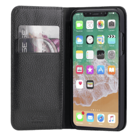 Genuine Leather Wallet Flip Case for Apple iPhone X/XS, Shrunken Black leather