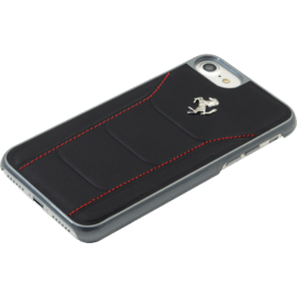 Ferrari 488 Genuine Leather case for Apple iPhone 6/6s/7/8, Black/Silver horse
