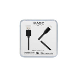 Câble Lightning certifié MFi Apple Charge/Sync (3M), Noir de Jais
