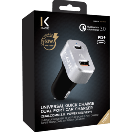Chargeur universel de voiture double port charge rapide (Qualcomm 3.0/Power Delivery), Noir