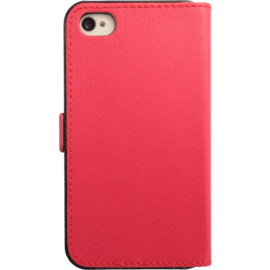 Case Book-type Magnetic flip case with credit card slot for Apple iPhone 4/4s, Pink