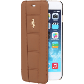 Case Ferrari Coque Clapet pour Apple iPhone 6 Plus/6s Plus, Cheval doré, Camel