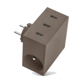 HIDE Taupe - Power Hub charger 5 in 1 / 3 USB ports & 2 plugs