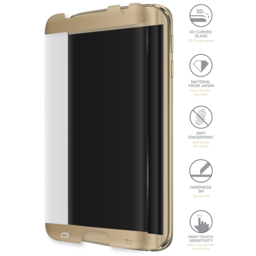 Case Advanced Curved Edge-to-Edge Tempered Glass Screen Protector for Samsung Galaxy S7 Edge, Gold