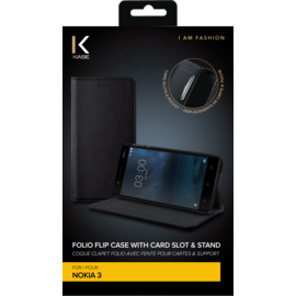 Folio Flip case with card slot & stand for Nokia 3, Black
