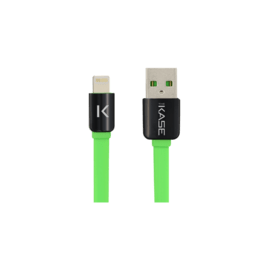 Case Lightning Flat cable to USB (1m), Flashy Green
