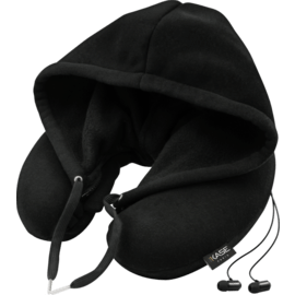 Hoodie Travel Pillow with Bluetooth earphone integrated, Black