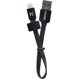 Lightning Flat cable to USB (0.2m), Cool Black