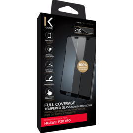 Full Coverage Tempered Glass Screen Protector for Huawei P20 Pro, Black