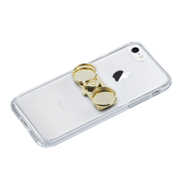 Ganci Dual Ring & Holders Smartphone, Barra in Metallo Dorato
