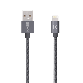 Apple MFi certified Metallic braided Lightning to USB Charge/Sync cable (1M), Grey