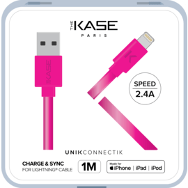 Câble Lightning certifié MFi Apple Charge Speed 2.4A charge/ sync (1M), Rose Bonbon
