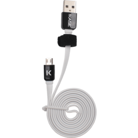 Flat cable to Micro USB (1m) for Android, Bright White