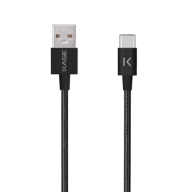 Metallic braided USB-C to USB-A Charge/Sync Cable (1M), Black
