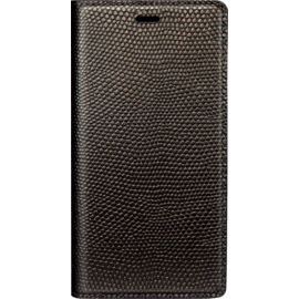 Diarycase Genuine Leather flip case with magnetic stand for Apple iPhone X, Lizard Golden Brown