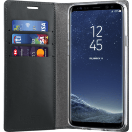 Diarycase Genuine Leather flip case with magnetic stand for Samsung Galaxy S9, Lizard Black