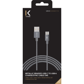 Metallic braided USB-C to USB-A Charge/Sync Cable (1M), Space Grey