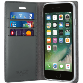 Diarycase Genuine Leather flip case with magnetic stand for Apple iPhone 7 Plus/8 Plus, Lizard Black