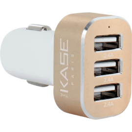 7.2A Trio car charger for Smartphone and Tablet, Gold