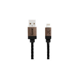 Genuine Leather Walnut Wood Apple MFi certified Lightning Charge/Sync Cable (0.3M) Black